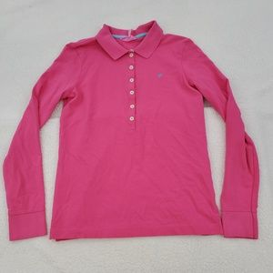Lilly Pulitzer Polo Shirt S Pink Long Sleeve Solid